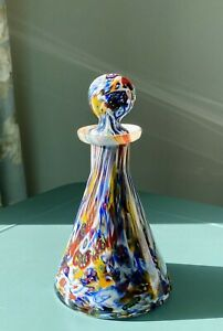 Beautiful Vintage Venetian Murano Glass Perfume Bottle Aqua Gold Blue Red White