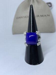David Yurman.Silver 14mm Cushion On Point Ring w/ Lapis Lazuli & Diamonds Sz5
