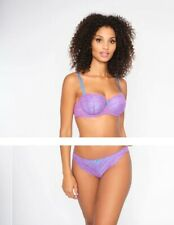 NEW! Ann Summers SEXY LACE Balcony BRA + BRIEF set, Purple/Blue *NEW* RRP£21