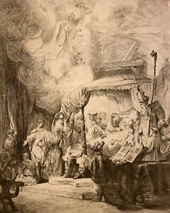 BARON DOMINIQUE VIVIANT DENON after REMBRANDT Etching DEATH OF THE VIRGIN