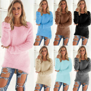 Women Lady Faux Fur Knitted Mohair Sweater Mid Long Pullover Sweater Plus Size