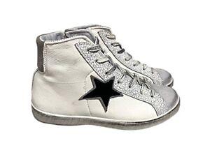 scarpe sneakers alte donna pelle bianco stella nera camoscio ghiaccio Nuovo