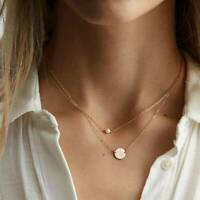 Women Pearl Gold Multilayer Clavicle Necklace Pendant Choker Chain Jewelry Gift@