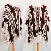 NEW Aztec Tribal Southwestern Soft Cozy Knit Fringe Tassel BOHO Poncho Sweater