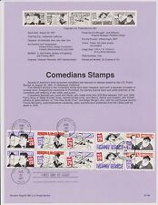 US 1991 FDC Souvenir Page Comedians 10 Stamps with First Day cancel |