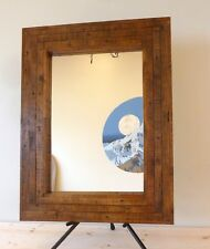 Distressed Rectangular Wooden Rustic Pine Wall Hung Mirror 103 x 79 cm Hand made