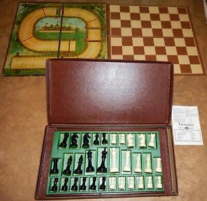 E S Lowe Staunton Design Chess Set with Silk Screen Leatherette Board Circa 1945