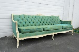 French Carved Painted Tufted Back Long Sofa Couch 2102
