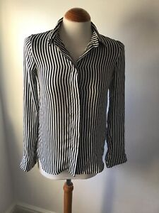 H & M BLACK AND WHITE STRIPE SATIN SHIRT BLOUSE TOP SIZE S 8-10