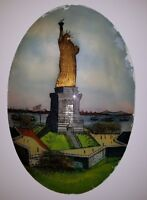 ANTIQUE AMERICAN FOLK ART REVERSE GLASS PAINTING STATUE LIBERTY BRIDGE SHIP NY