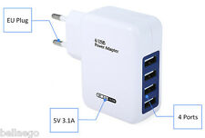 Universal 4 USB Ports Home Wall Power Supply Adapter Charger 100 - 240V