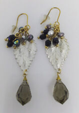 Statement freshwater and Swarkowski Bead Cluster Leaf Earrings