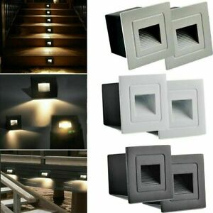 2pcs LED Stair Step Lights Outdoor Pathway Path Garden Indoor Lamp Fence Light