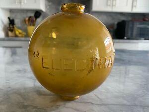 Antique ELECTRA Amber Glass Lightning Rod Round Ball Weather Vane