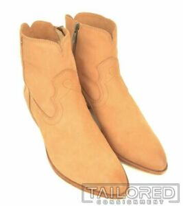 NEW - FRYE Beige Leather RAY SEAM SHORT CAMEL Soft Oiled Womens Boots - 8 M