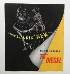 "1954-55 JOHN DEERE ""BRAND SPANKIN' NEW MODEL 70"" TRACTOR SALES CATALOG BROCHURE"