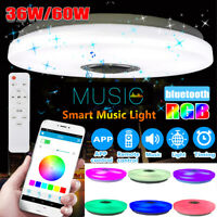 Music LED Ceiling Light RGB bluetooth Speaker Lamp Dimmable W/Remote Control USA