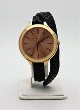 Michael Kors Slim Runway Rose Dial Black Embossed Leather Ladies Watch MK2322