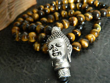 Men Chunky Natural Tiger's Eye Buddha Beaded Necklace.Statement.Boho.Handmade
