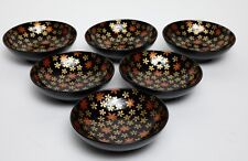 Set of 6 Japanese Lacquerware Rice Bowls with Flowers 5 1/8