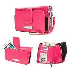 Magenta PU Leather Wristlet Clutch Wallet Card Case Cover For iPhone 7 Plus 5.5