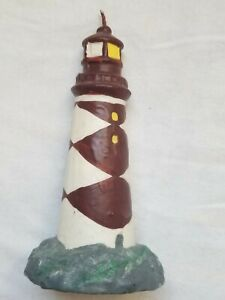 Hand Painted? Lighthouse Burgundy And White 6 Inch Candle