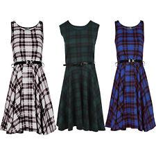 New Women's Ladies  Sleeveless Tartan Check Print Stylish Flared  Skater Dress