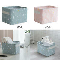 2* Storage Desktop Box Organizer Sundries Basket Cute Printing Cotton Linen Hot