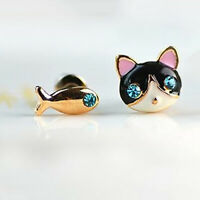 1 Pair Korean Women Cute Cat Fish Rhinestone Stud Earrings Fashion Jewelry Gifts