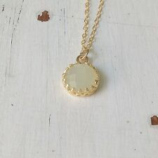 Gold Jade Necklace 14k Yellow Gold Filled Natural JADE Green Stone Women New