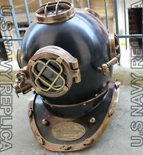 US Navy Mark V Solid Copper & Brass Heavy Diving Divers Helmet 18 Inch Vintage