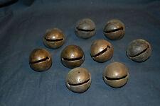 Lot of 9 Antique Brass Bells Size 5