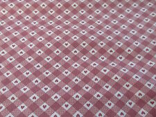Vtg 80s gingham country heart rose mauve pink cotton fabric BTHY half yard cut