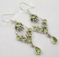 925 Sterling Silver Beautiful GREEN PERIDOT MULTI Gems ETHNIC Earrings 2 Inch