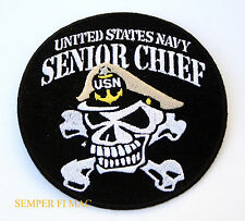 SENIOR CHIEF PETTY OFFICER SCPO E-8 HAT PATCH US NAVY USS SKULL OR-8 CROSS BONES