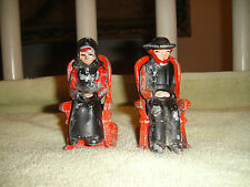 Vintage Amish Man & Woman Cast Iron Salt & Pepper Shakers-Rocking Chairs