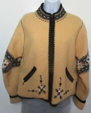 ICELANDIC DESIGN Cardigan Boiled Wool Lined Full-Zip Yellow Embroidered S EUC