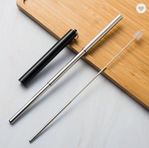 Premium Stainless Steel Portable Collapsible Black Telescopic Straw & Brush Set