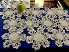 """12 Antique 1920s Unused Linen Cluny Hand Bobbin Lace Trim 7""""Tea Doilies Coasters"""