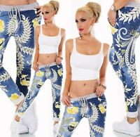 ITALY Damen Hose Sweat Baggy JogPants Freizeithose Blumen Muster blau 36-40