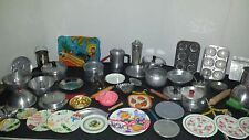 VTG Tin Litho Metal CHILDREN'S Doll Dishes COOKWARE PANS Cutlery 68 Pcs Lot toy