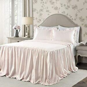 Lush Decor Blush Ticking Stripe Full Bedspread 3 Piece Set Shabby Chic NEW