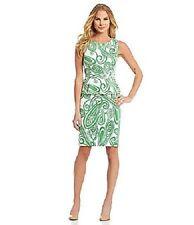 Antonio Melani Clio Green Apple Ivory Cotton Peplum Work Social Dress 12 $169