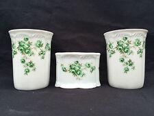 Badezimmer Set 3-teilig KPM Royal Porzellan Handarbeit weiß mit Blumendekor