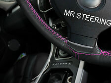 FOR PEUGEOT 207 2006-12 REAL LEATHER STEERING WHEEL COVER HOT PINK DOUBLE STITCH