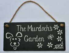 Personalised sign Large slate hanging plaque home garden or kids den mud kitchen