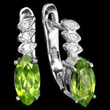 Sterling Silver 925 Marquise Genuine Natural Peridot & Lab Diamond Stud Earrings