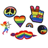 Rainbow Iron On Patches For Clothing Lgbt Flag Gay Pride Embroidered Sticker_ti