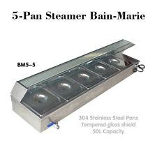 5-Pan Steamer Bain-Marie Buffet Countertop Food Warmer Steam Table 110V 1500W
