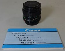 Canon FD 50mm f1.4 8 Blades Fast Prime Lens with Original Instructions Manual